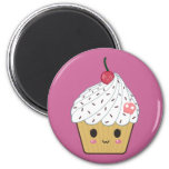 Kawaii Cupcake with Pink Sugar Skull and Cherry 2 Inch Round Magnet