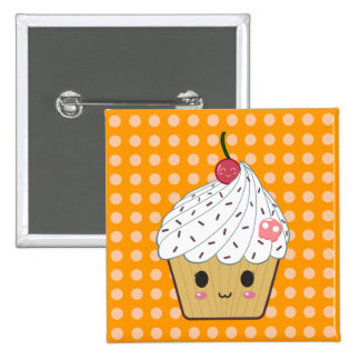 Kawaii Cupcake with Pink Sugar Skull and Cherry 2 Inch Square Button