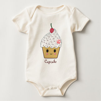 Kawaii Cupcake with Pink Sugar Skull and Cherry Baby Bodysuit