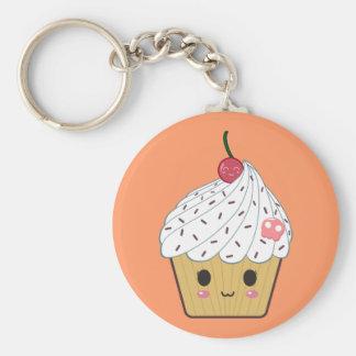 Kawaii Cupcake with Pink Sugar Skull and Cherry Basic Round Button Keychain