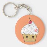 Kawaii Cupcake with Pink Sugar Skull and Cherry Keychains