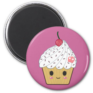 Kawaii Cupcake with Pink Sugar Skull and Cherry Magnet