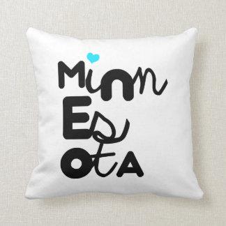 Kawaii Cute Adorable Minnesota State Typography Throw Pillows