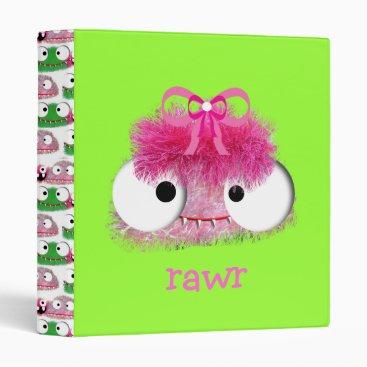 Toddler & Baby themed kawaii cute baby monster pink 3 ring binder