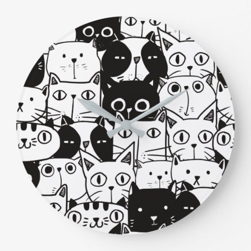 Kawaii Cute Black And White Cat Pattern Large Clock
