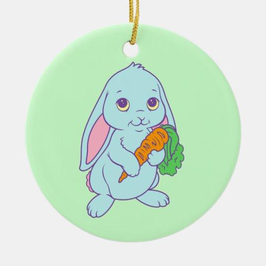 Kawaii Cute Cartoon Bunny Rabbit Carrot Ceramic Ornament