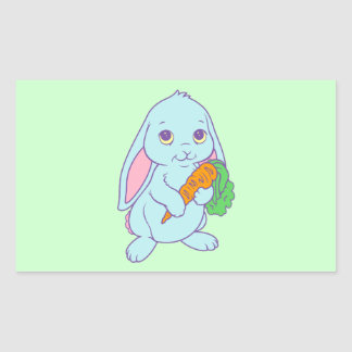 Kawaii Cute Cartoon Bunny Rabbit Carrot Rectangular Sticker