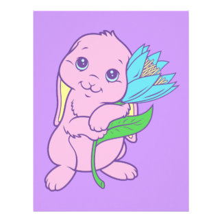 Kawaii Cute Cartoon Bunny Rabbit Flower Custom Letterhead