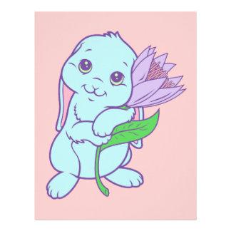 Kawaii Cute Cartoon Bunny Rabbit Flower Personalized Letterhead