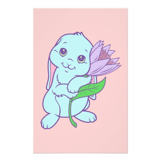 Kawaii Cute Cartoon Bunny Rabbit Flower Stationery