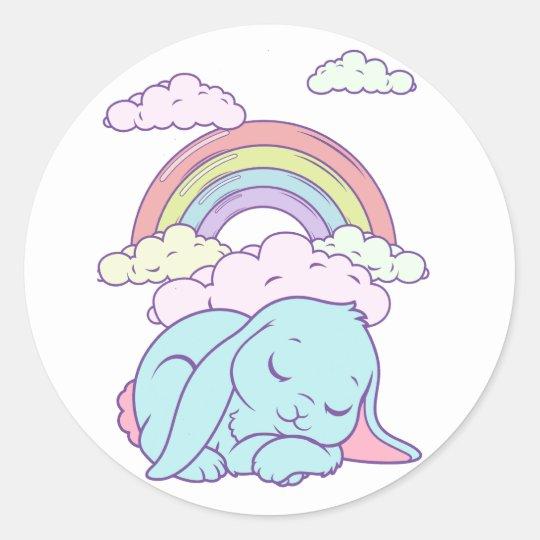 Kawaii Cute Cartoon Bunny Rabbit Rainbow Classic Round Sticker