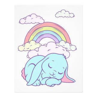 Kawaii Cute Cartoon Bunny Rabbit Rainbow Custom Letterhead
