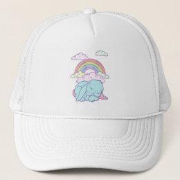 Kawaii Cute Cartoon Bunny Rabbit Rainbow Trucker Hat