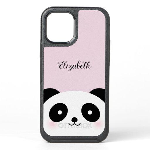 Kawaii Cute Cartoon Panda Bear Custom Name OtterBox Symmetry iPhone 12 Pro Case
