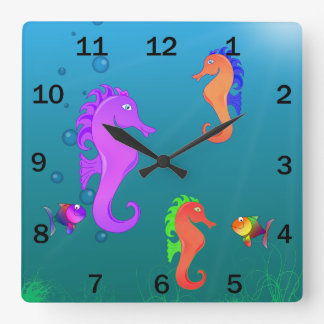 Kawaii Cute Cartoon Sea Horses Clock