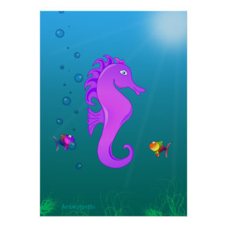 Kawaii Cute Cartoon Seahorse in Purple and Lilac Poster