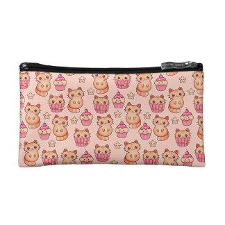 Kawaii Cute Cats and Cupcakes Pink Pattern Makeup Bags
