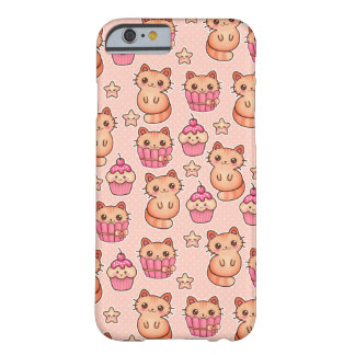Kawaii Cute Cats and Cupcakes Pink Pattern Barely There iPhone 6 Case