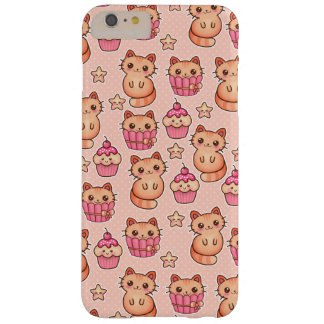 Kawaii Cute Cats and Cupcakes Pink Pattern Barely There iPhone 6 Plus Case
