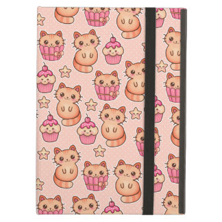 Kawaii Cute Cats and Cupcakes Pink Pattern Case For iPad Air