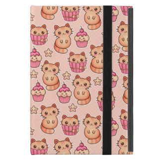 Kawaii Cute Cats and Cupcakes Pink Pattern Covers For iPad Mini