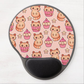 Kawaii Cute Cats and Cupcakes Pink Pattern Gel Mouse Pad