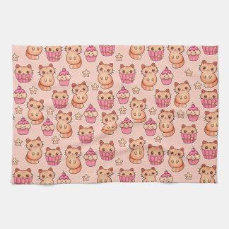 Kawaii Cute Cats and Cupcakes Pink Pattern Hand Towel