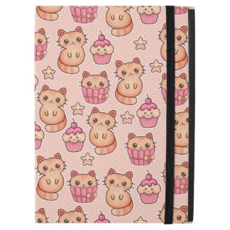 Kawaii Cute Cats and Cupcakes Pink Pattern iPad Pro Case