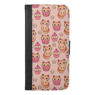 Kawaii Cute Cats and Cupcakes Pink Pattern iPhone 6/6s Plus Wallet Case