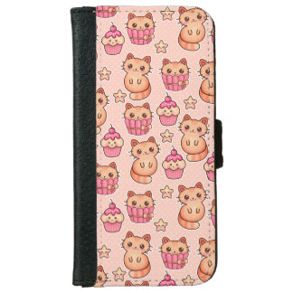 Kawaii Cute Cats and Cupcakes Pink Pattern iPhone 6/6s Wallet Case