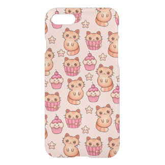 Kawaii Cute Cats and Cupcakes Pink Pattern iPhone 8/7 Case