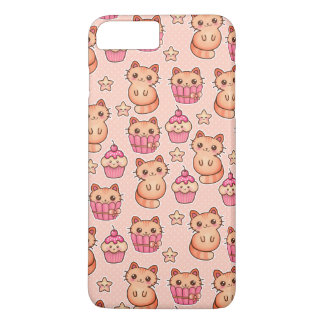 Kawaii Cute Cats and Cupcakes Pink Pattern iPhone 8 Plus/7 Plus Case
