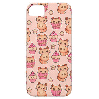 Kawaii Cute Cats and Cupcakes Pink Pattern iPhone SE/5/5s Case