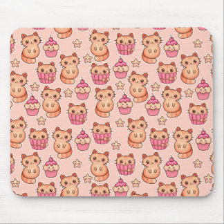 Kawaii Cute Cats and Cupcakes Pink Pattern Mouse Pad