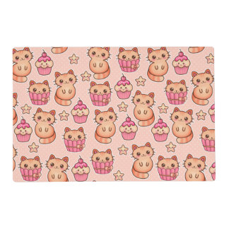 Kawaii Cute Cats and Cupcakes Pink Pattern Placemat
