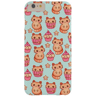 Kawaii Cute Cats Cupcakes Pink and Blue Pattern Barely There iPhone 6 Plus Case