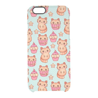 Kawaii Cute Cats Cupcakes Pink and Blue Pattern Clear iPhone 6/6S Case