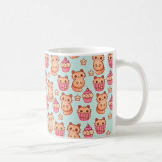 Kawaii Cute Cats Cupcakes Pink and Blue Pattern Coffee Mug