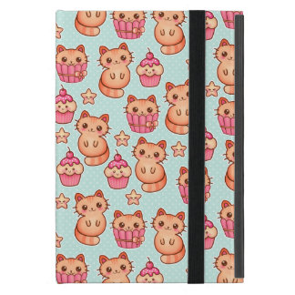 Kawaii Cute Cats Cupcakes Pink and Blue Pattern Cover For iPad Mini