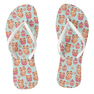 Kawaii Cute Cats Cupcakes Pink and Blue Pattern Flip Flops