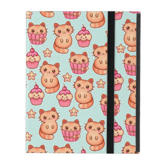 Kawaii Cute Cats Cupcakes Pink and Blue Pattern iPad Cases