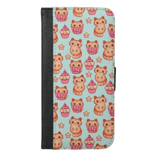 Kawaii Cute Cats Cupcakes Pink and Blue Pattern iPhone 6/6s Plus Wallet Case