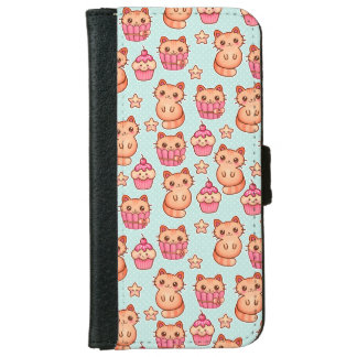 Kawaii Cute Cats Cupcakes Pink and Blue Pattern iPhone 6/6s Wallet Case