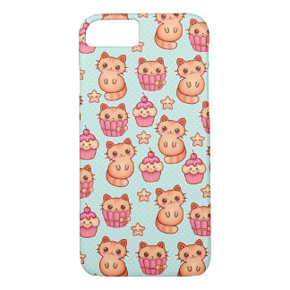 Kawaii Cute Cats Cupcakes Pink and Blue Pattern iPhone 8/7 Case