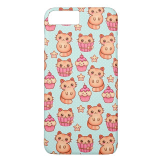 Kawaii Cute Cats Cupcakes Pink and Blue Pattern iPhone 8 Plus/7 Plus Case