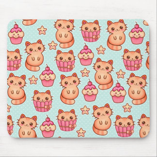Kawaii Cute Cats Cupcakes Pink and Blue Pattern Mouse Pad