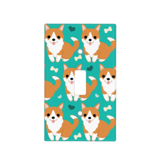 Kawaii Cute Corgi dog simple illustration pattern Light Switch Cover
