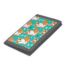 Kawaii Cute Corgi Dog Simple Illustration Pattern Trifold Wallet at Zazzle