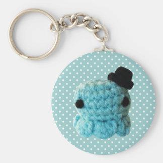 Kawaii Cute Crochet Amigurumi Octopus Top Hat Blue Keychain