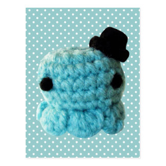Kawaii Cute Crochet Amigurumi Octopus Top Hat Blue Postcards